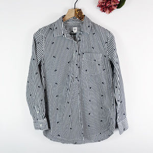 [GAP] Striped Embroidered Rose Button Up Shirt